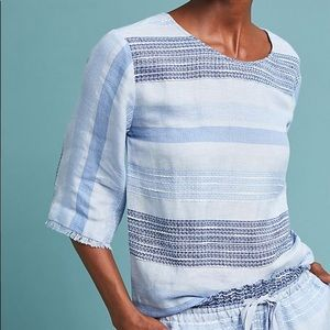 anthropologie cloth and stone blue tie back blouse